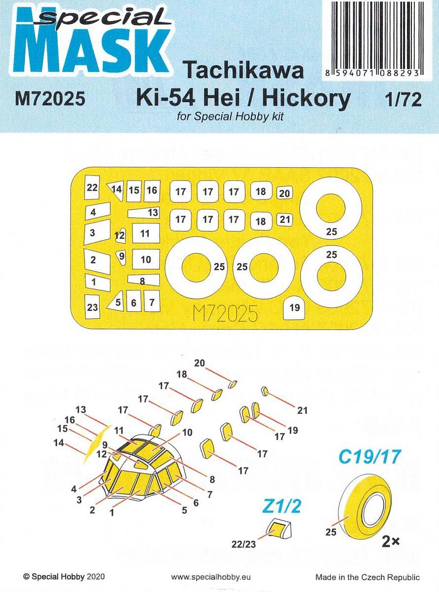 Special-Hobby-M-72025-Ki-54-Masken-3 Masken für die Ki-54 Hickory in 1:72 von Special Hobby ' SH M 72025