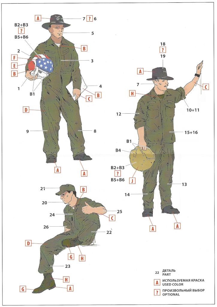 Anleitung2 US Helicopter Pilots (Vietnam War) 1:32 ICM (#32114)