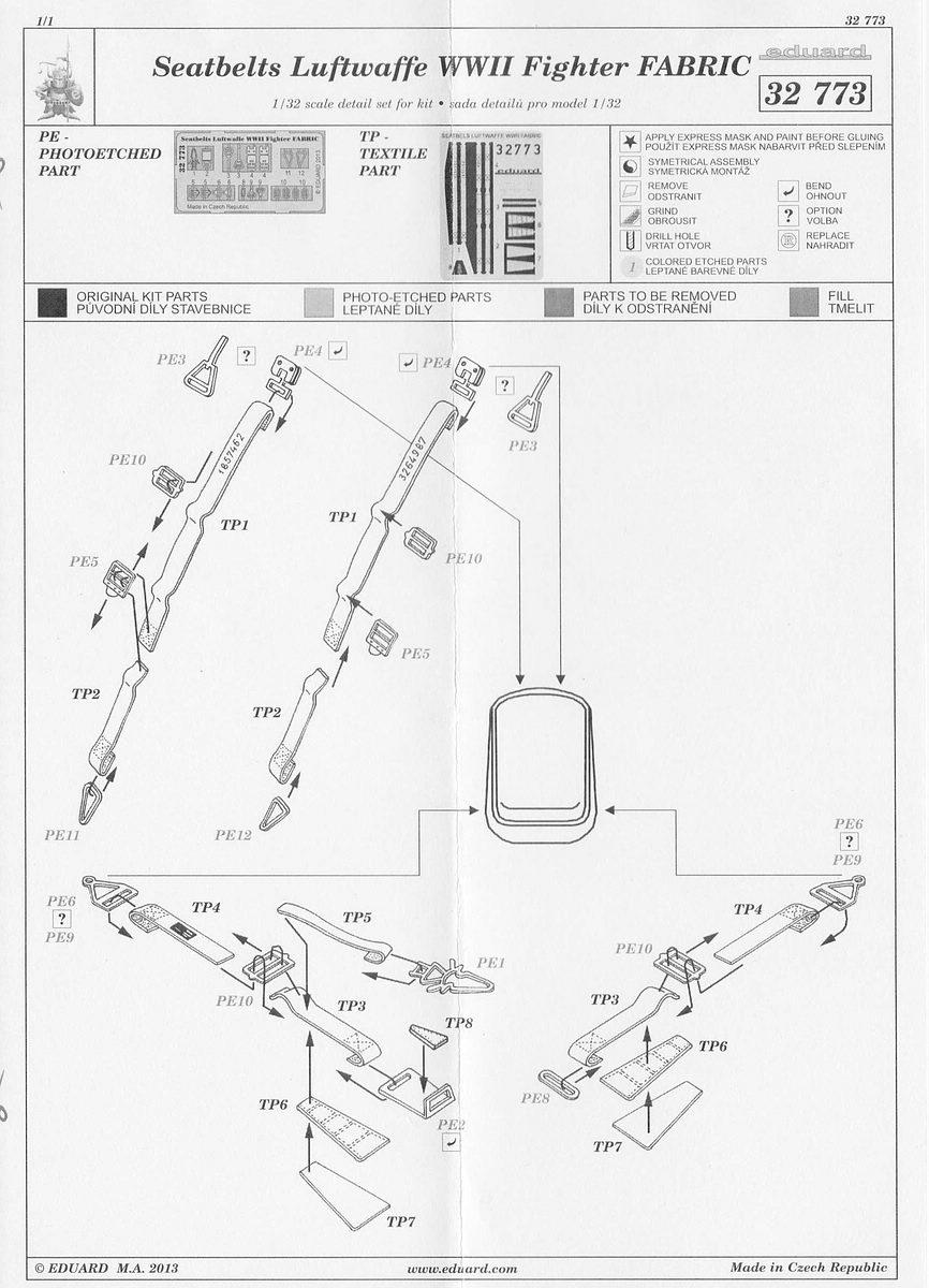Eduard-32773-Seatbelts-Luftwaffe-Fighters-FABRIC-2 Seatbelts Luftwaffe FABRIC in 1:32 von Eduard #32773