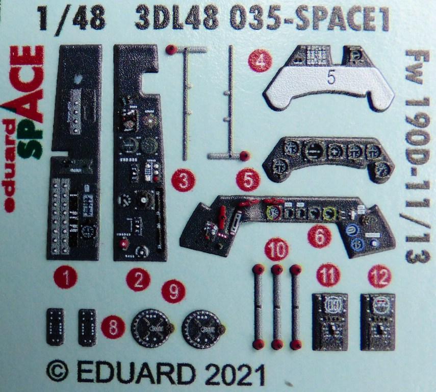 Eduard-3DL48035-FW-190-D-11-SPACE-2 SPACE-Set für Focke-Wulf 190 D-11/D-13 von Eduard #3DL48035