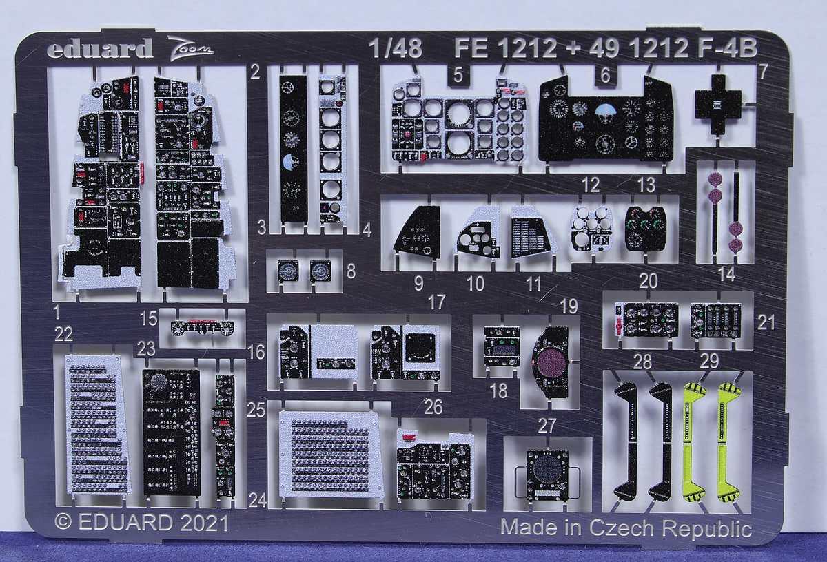 Eduard-491212-Tamiya-F-4-B-3 Eduard Ätzteile für Phantom F-4B von Tamiya # 491212