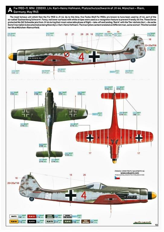 Eduard-8185-FW-190-D-11-und-D-13-43 Focke-Wulf Fw 190D-11/13 von Eduard # 8185